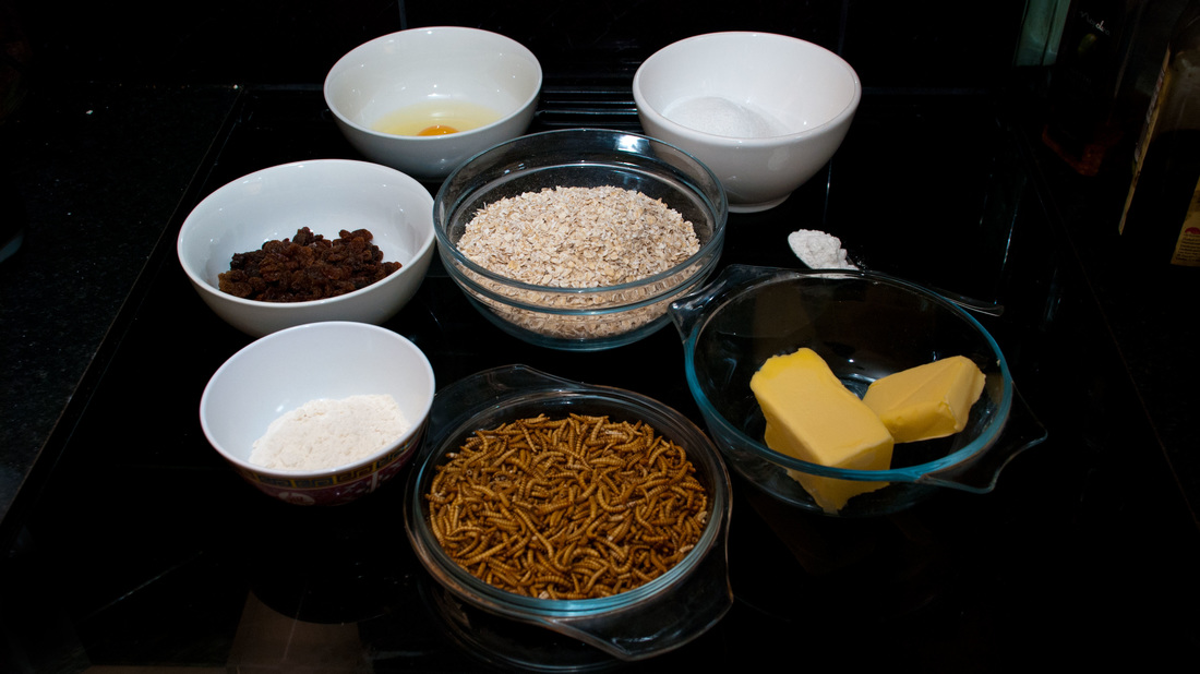 The ingredients for mealworm flapjacks